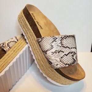 Dirty Laundry Snake Skin Print Platform Sandals